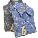 シュガーケーン「ネイティブアメリカンプリント」シャンブレー長袖ワークシャツ/sc28649
