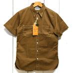 シュガーケーン「ブラウンウォバッシュストライプ」半袖ワークシャツ/sc38700