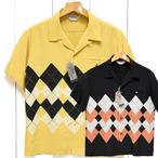 スターオブハリウッド「SQUARE GRID」レーヨン半袖オープンシャツ/sh38129
