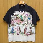 サンサーフ「OLD JAPANESE SCENERY」縮緬レーヨン半袖アロハ・ブラック/ss38030-119