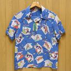 サンサーフ「KABUKI MAKE UP」縮緬レーヨン半袖アロハ・ブルー/ss38036-125
