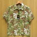 KEONI OF HAWAII 「HOOLAULEA IN HAWAII」ホオラウレア・ by JOHN MEIGS レーヨンアロハ・グリーン/ss38717-145